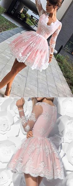 Long Sleeve V-neck Party Dress,Lace Homecoming Dresses,Lace Short Prom Dresses,Mini Pink Party Dress,Short Prom Dress,Cute Homecoming Dress,Formal Dress
