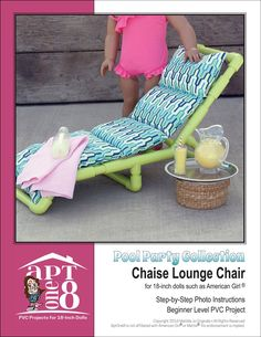 Pixie Faire Pool Party Collection: Chaise Lounge Chair PVC Pattern for 18 inch American Girl Doll Clothes Patterns, Doll Patterns, Pvc Chair, Swivel Chair, Chair Cushions, Spray Paint Plastic, Lifeguard Chair, Pvc Furniture, Pvc Pipe Projects