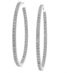 Sterling Essentials Silver Large Cubic Zirconia Hoop Earrings 48 Liked On Polyvore Featuring Jewelry White Earring
