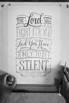Art of christianity: spiritualinspiration: chalkboard bible verses, scripture lettering, scripture art, The Words, Cool Words, Bible Quotes, Bible Verses, Scriptures, Exodus 14 14, Scripture Art, Scripture Lettering, Letter Logo