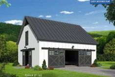 This Farmhouse garage plan has bathrooms, and a 2 car front entry garage. This home plan is featured in the Country, Garage, Garage w/Living, Carports and New House Plans collections. 2 Car Garage Plans, Garage Plans With Loft, Garage Loft, Garage Workshop, Dream Garage, Garage House, Loft Door, Loft Plan, Garage Extension
