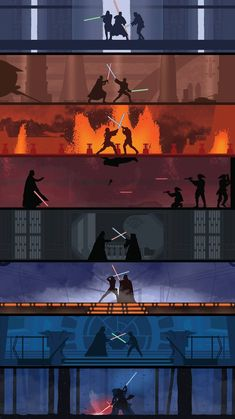 A poster showing the various lightsaber battles in the Star Wars movie series. The poster has a very clean design to it with limited details on the figures to make them stand out more against their more detailed backgrounds. Star Wars Poster, Star Wars Film, Nave Star Wars, Star Wars Fan Art, Star Wars Rebels, Star Wars Jedi, Star Trek, Marvel, Tableau Star Wars