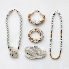 Marble, jasper, rope and brass jewellery from The Vamoose