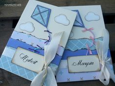 Ręcznie robione albumy do zdjęć dla dzieci z imionami i lakatwcami. Handmade photo albums with kites.