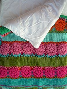 single crochet +zig zag joining stitch + crocheted pouffs....great idea for a blanket/afghan