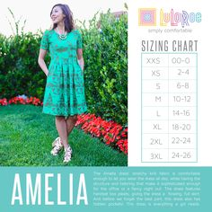 The Amelia dress by LuLaRoe is an all in one look! With pleats and roomy pockets, not to mention her exposed zipper up the back, you cannot beat this stunning piece. Size chart for the Amelia dress by LuLaRoe Lularoe Amelia Dress, Lularoe Dresses, Lularoe Clothes, Amelia Lularoe Sizing, Lularoe Size Chart, Lula Roe Outfits, Colorblock Dress, Amelie, Vestidos