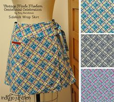 Indygo Junction's Sidekick Wrap Skirt made in a cute plaid from the Vintage Made Modern Centennial Celebration from RJR Fabrics