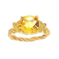 Citrine Ring Accented with Butterflies