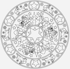 Bilderesultat for jule mandala Christmas Mandala, Christmas Trees For Kids, Christmas Mood, Easy Crafts For Kids, Christmas Crafts For Kids, Christmas Colors, Christmas Pictures, Adult Coloring Pages, Free Printable Coloring Sheets