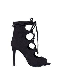 Lacing Open Toe Bootie - Nly Shoes - Sort - Festsko - Sko - Kvinde - Nelly.com