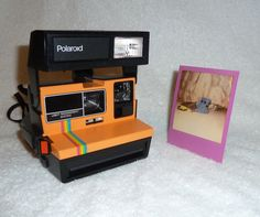 So COOL! Fun Rainbow Vintage Polaroid 600 LMS Camera Works Great and ORANGE by UpcycledClassics