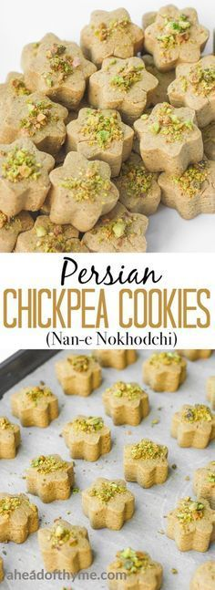 Persian Chickpea Cookies with Pistachio Nan-e Nokhodchi is a crumbly melt-in-your-mouth cookie made with the fragrant flavours of rose water cardamom and pistachio via aheadofthyme Chickpea Recipes, Vegan Recipes, Drink Recipes, Healthy Eid Recipes, Picnic Recipes, Healthy Food, Persian Desserts, Persian Recipes, Chickpea Cookies