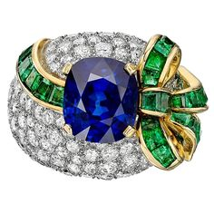 5.09 Carat Sapphire Emerald Diamond Two Color Gold Ring | From a unique collection of vintage cocktail rings at https://www.1stdibs.com/jewelry/rings/cocktail-rings/