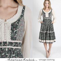 vtg 70s Gunne Sax Dress Calico Floral Crochet Lace Boho Hippie Prairie Mini S M #GunneSax #EmpireWaist #Casual