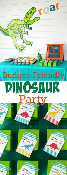 DIY and budget-friendly birthday party for a dinosaur theme. Includes inexpensive party favor and birthday decoration ideas for kids.