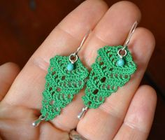 """Vintage inspired handmade crocheted lace dangle earrings in green with charms, 2"""" long on Etsy, $25.00"""