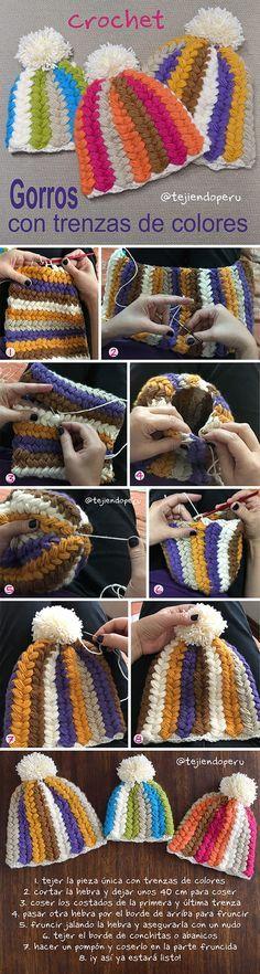 Gorros con trenzas de colores tejidos a crochet... paso a paso en video tutorial para tejerlos en 6 tallas (¡bebés hasta adultos!)