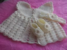 beautiful christening set. coat, shoes and headband with pearl trim and buttons. 0-3mths £25 plus p&p  https://www.facebook.com/anneshandmadebabyshoes