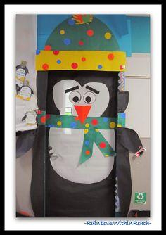 Penguin Themed Winter Decorated Classroom Door via RainbowsWithinReach