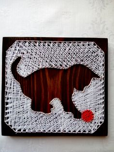 Items similar to Picture String art Wall decor String art Christmas kitten Cat String art Custom Animal Lover Gift Feline String Home Art Wall art Custom art on Etsy String Art Templates, String Art Patterns, Nail String Art, String Crafts, Pictures On String, Picture String, Picture Wall, Arte Linear, Christmas Kitten