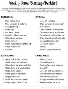 Weekly Cleaning Checklist - Print this cleaning tasks list to help you pick out your cleaning priorities and then set a timer and clean as much as you can! Inspired by the Weekly Home Blessing fly lady system to help busy moms! Household Cleaning Schedule, Cleaning Checklist Printable, Daily Cleaning, House Cleaning Tips, Household Tips, Spring Cleaning, Cleaning Hacks, Organization Hacks, Organizing