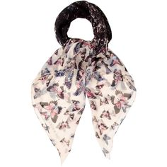 Pre-owned Alexander McQueen Butterfly Printed Scarf ($125) ❤ liked on Polyvore featuring accessories, scarves, black, butterfly shawl, colorful shawl, alexander mcqueen, alexander mcqueen scarves and butterfly scarves