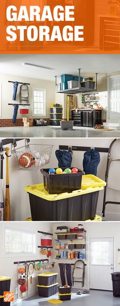 Storage solutions allow your garage to be so much more than just a space for your car. Heavy-duty plastic storage bins can hold a variety of items from sporting equipment to holiday decorations and are stackable to maximize the use of space. Wall organization and ceiling shelves really allow you to utilize every inch of space available. Click to shop products to help you organize the garage.