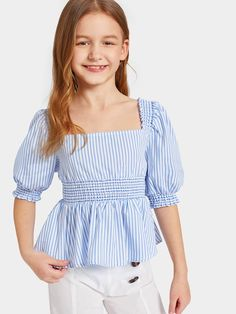 To find out about the Girls Puff Sleeve Smocked Striped Peplum Top at SHEIN, part of our latest Girls Blouses ready to shop online today! Girls Fashion Clothes, Teen Fashion Outfits, Kids Outfits, Kids Fashion, Cute Outfits, Frocks For Girls, Little Girl Dresses, Moda Junior, Kids Dress Wear