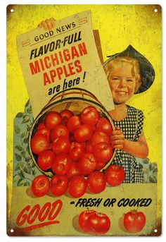 Buy Michigan Apples Are Here Vintage Looking Advertisement. Made of .040 Aluminum 12x18 Comes with mounting holes in corners. Made new to look