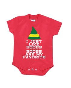 Funny Christmas onesie. I just like boobs. Boobs are my favorite. www.esty.com/shop/thesweatlifeshop