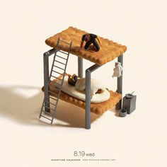 Art by Tanaka Tatsuya  This miniature tableau is amazing.  The fact that the bunk bed is made of a cracker with the mattress being the cream in the middle is mind blowing.  I would have never thought to do something such as this.  Thankfully Tatsuya did. :)