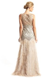 Sue Wong Gatsby Style 1920's Feather Gown Wedding Dress