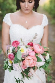 A gorgeous coral charm peony bouquet: http://www.stylemepretty.com/california-weddings/2015/08/25/glamorous-garden-inspired-ranch-wedding-in-santa-paula/ | Photography: Anna Delores - http://www.annadelores.com/