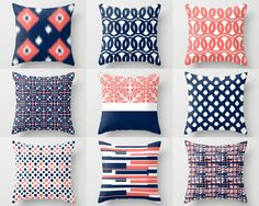 Throw Pillow Covers Navy Pillow Covers Coral by HLBhomedesigns