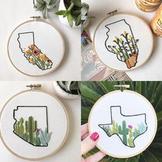 Show your adoration for a state with these totally unique hoops. Your state is stitched in black cotton thread and accented with vibrant native plants on soft white cotton, set in a 5 or 6 wooden hoop. (Size of hoop depends on state shape and availability.) Choices: California -