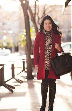 cute & little blog | red wool coat, leopard scarf, lululemon black wunder under tights, vince camuto bedina otk boots outfit | Flickr - Photo Sharing!
