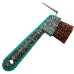 "Teal & Brown Navajo print plastic hoof pick meaures 6"" long"