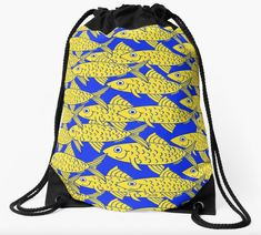 Celebrate life with a School of Fish Tote Bag. A great way to show that even fish are important in our lives. Fish Drawings, Celebrate Life, Fish Swimming, String Bag, Fish Design, Dance Art, Seas, Woven Fabric