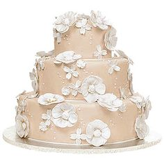 Beige themed cake - I would love this, but with colored flowers!!