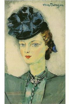 """Cornelis Theodorus Maria van Dongen, a.k.a. Kees van Dongen, or just van Dongen (Dutch, January 26, 1877 – May 28, 1968): Blue Hat, 1897; oil on canvas. """"... one of the Fauves. He gained a reputation for his sensuous, at times garish, portraits."""" ~anon."""