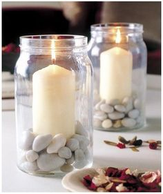 Table decoration for the summer late summer candlestick in jam jar pebbles - Trend Garden Decoration Candle Jars, Mason Jars, Jam Jar Candles, Mason Jar Candle Holders, Glass Jars, Candels, Citronella Candles, Wow Products, Candlesticks
