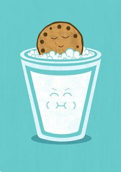 Ilustraciones divertidas para la cocina Qué Cosica lol to funny i am having a chocolate chip cookie and some milk lol