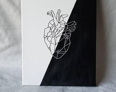 Non-human Heart Embroidered Canvas on Etsy
