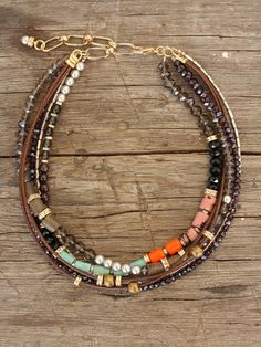 Multicolor Necklace with Leather, Semi-Precious Stones and Wood Beads