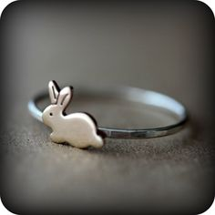 I love me some BUNNY!   Bunny ring - The ultimate cuteness. $17.00, via Etsy.