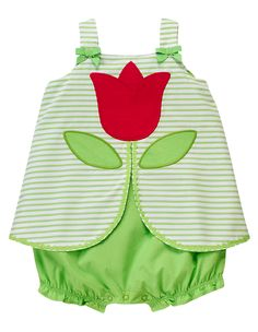 Blooming tulip! Made from crisp cotton shirting, our stripe one-piece has tulip knit appliqués plus ric rac trim and grosgrain ribbon bow accents for happy spring style. 100% cotton shirting. For sizes 0-3 to 18-24 months. Back and leg snaps for easy dressing. Machine washable. Imported. Collection Name: Too-Cute Tulip.