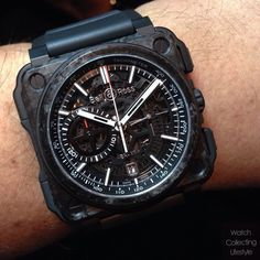Bell&Ross BR-X1 Carbone Forgé All Black on wrist.