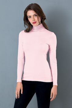 Silky Roll Neck, Icy Pink