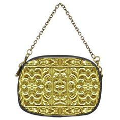 Gold Plated Yellow Ornament Artwork Floral Motif Chain Purse (Two Sided) from CowCow This chain purse with digital collage style technique luxury golden plated ornament artwork pattern with geometric floral motif in vivid yellow tones convey beauty, elegance and luxury and will shine everyhere you go! #baroquechainpurse #luxurychainpurse  #goldplatedchainpurse