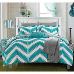 Chic Home Aloretta Reversible Twin/twin XL Comforter Set In Aqua Aqua Bedding, Dorm Bedding, Striped Bedding, Full Comforter Sets, Twin Xl Comforter, Bedding Sets, Flat Sheets, Bed Sheets, Bedroom Decor